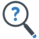 Magnifying glass with question mark image